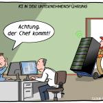 KI-Chef Büro Vorgesetzter Unternehmensführung Künstliche Intelligenz Technologie Server Cartoon