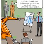 Vernetzte Produktion Smart Factory Fabrik Automatisierung Workshop M2M Kommunikation Cartoon