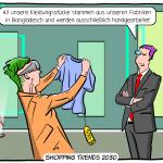 Zukunft Textilindustrie Nearshoring OnShoring Cartoon