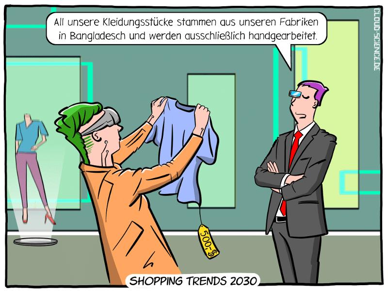 Zukunft Textilindustrie Nearshoring OnShoring Mode Cartoon Illustration Bangladesch Arbeitskräfte