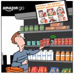 Amazon Go Kamera Überwachung Cartoon Marketing
