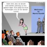 Marie Kondo Unternehmen Entlassung aufräumen Cartoon