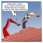 Kollaboration Team Zusammenarbeit Zukunft Mauer Roboter Cartoon Karikatur
