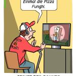 Drohnenpilot arbeit der Zukunft Cartoon Karikatur