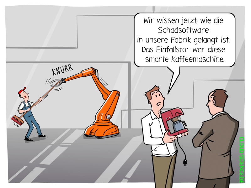 IT-Security Cybersecurity IOT Sicherheit Industrie Fabrik Roboter Cartoon Karikatur Fertigung