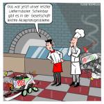 Pizzeria Lieferroboter Lieferdienst Akzeptanz Cartoon