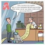 Medizin der Zukunft Medikament KI Apotheke Cartoon
