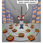 Automatisiertes Lager, Lgerlogistik, Cobots, Lagerlogistik, Roboter, Cartoon, Karikatur
