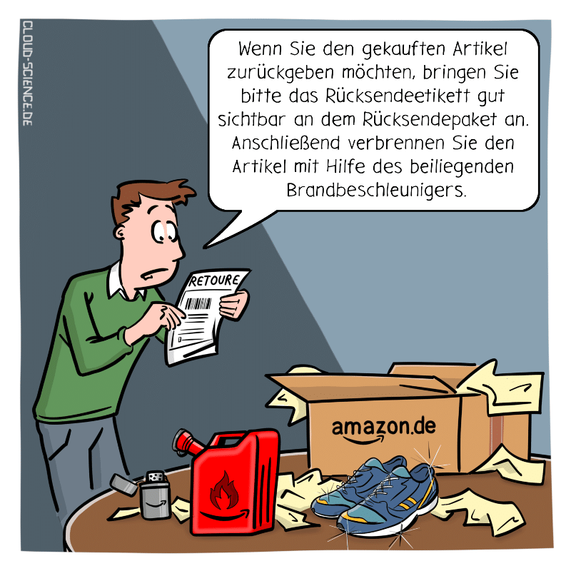 Retouren Retoure Amazon Rückgabe Cartoon