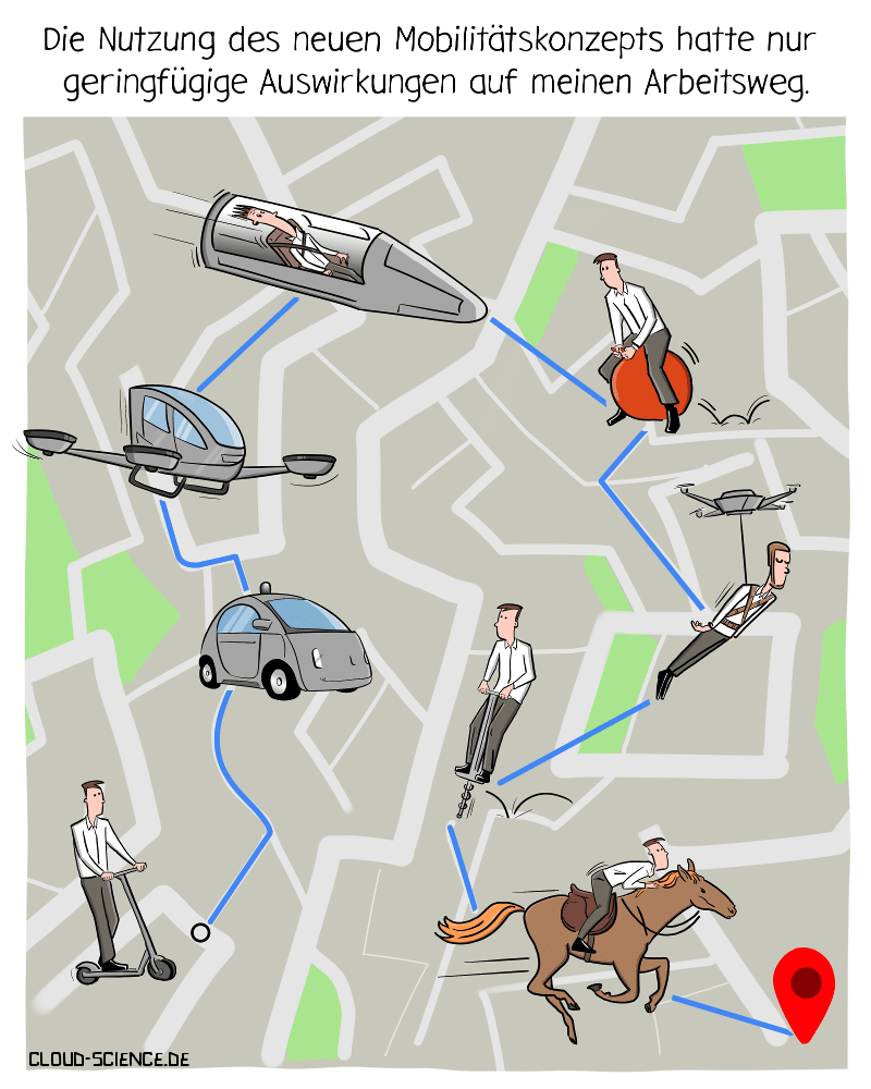 Mobilität Mobilitätskonzept Verkehrsmittel Nahverkehr SharingKarikatur Cartoon E-Scooter Verkehr Infratsruktur