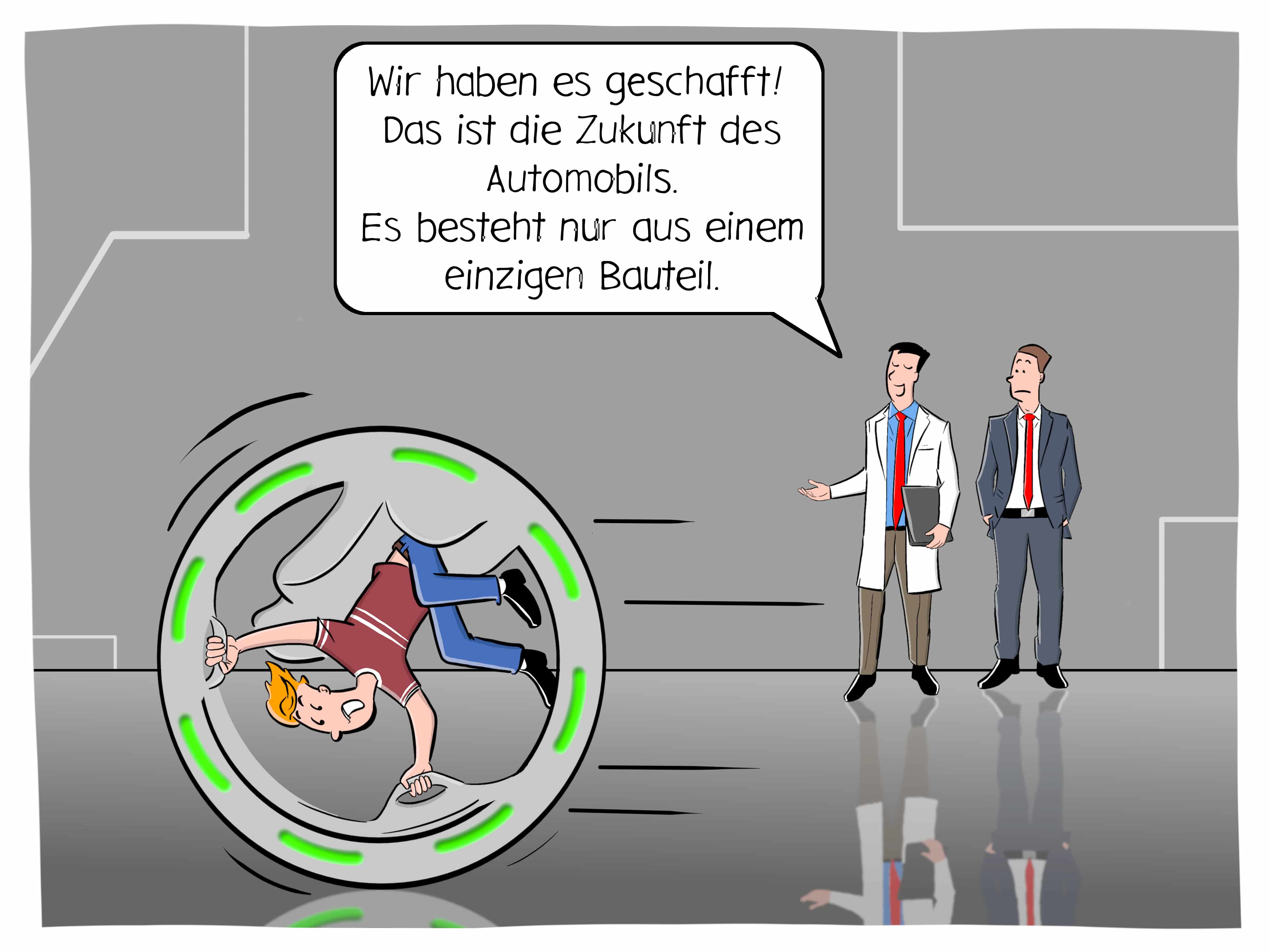 Automobilbranche Zukunft additive Fertigung Elektroantrieb eAuto Bauteile Cartoon Karikatur illustration