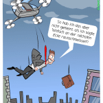Flugtaxi Taxidrohne Cartoon Karikatur Mensch-Maschine-Kommunikation