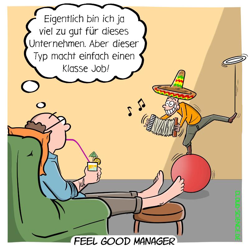 Feel Good Manager Cartoon Karikatur Illustration