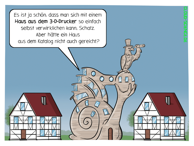 3-D-Drucker Haus 3D-Druck additive Fertigung bauen Cartoon Karikatur