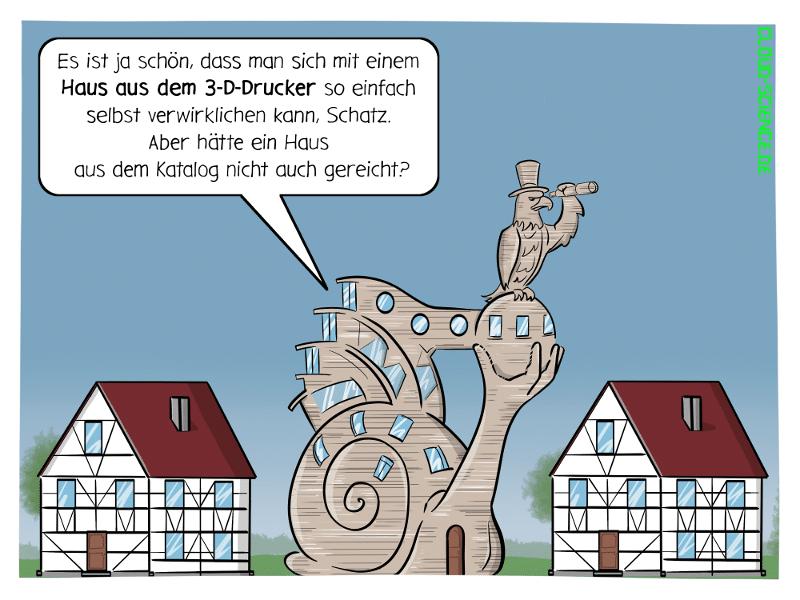 3-D-Drucker Haus 3D-Druck additive Fertigung bauen Cartoon Karikatur