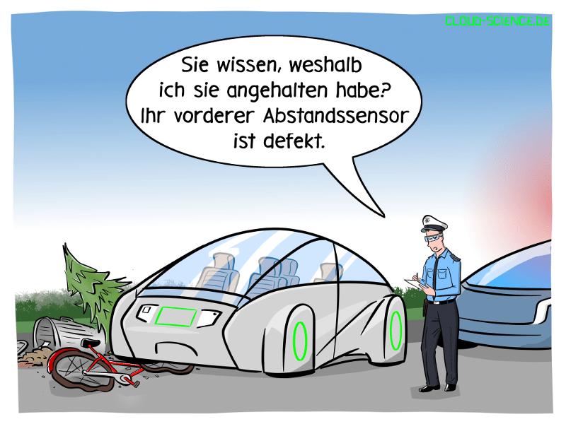 Autonomes Fahren Polizeikontrolle Abstandsensor Lidarsensor Cartoon Karikatur