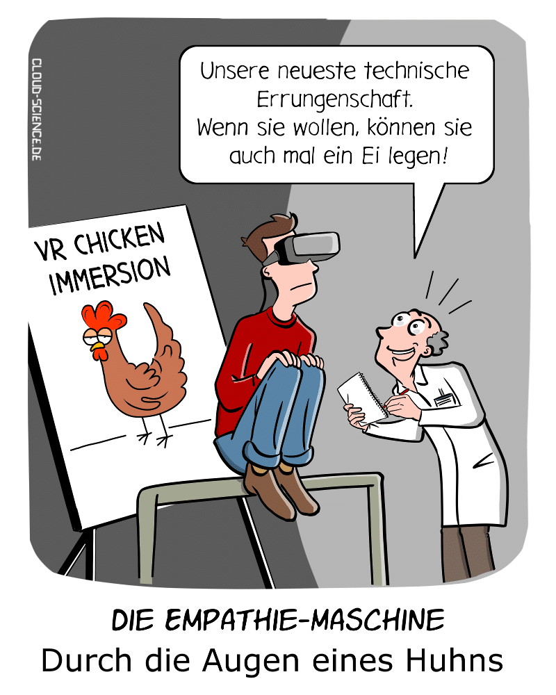 VR Virtual Reality Empathie-Maschine Empathie virtuelle Realität VR-Brille Tier Immersion Cartoon Comic Karikatur Humor Technik Mann als Huhn