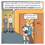 Cartoon über die Office KI, um Leute zum lachen und nachdenken zu animieren