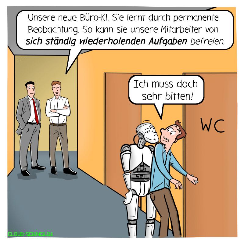 Cartoon Karikatur Illustration KI im Büro künstliche Intelligenz lernt Roboter maschinelles lernen Technologie
