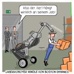 Lagerroboter Handle Boston Dynamic Cartoon Karikatur Automatisierung