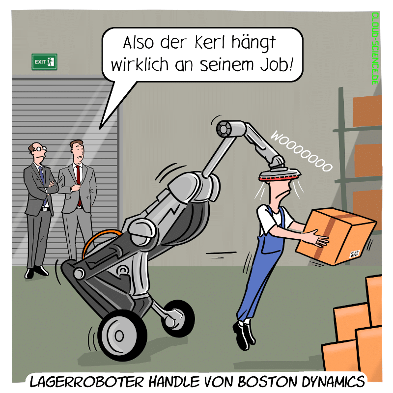 Lagerroboter Handle Boston Dynamic Cartoon Comic Roboter Karikatur Automatisierung