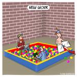 New Work Cartoon Karikatur Illustration Arbeitswelt technologischer Wandel Büro Businesscartoon