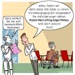 Robo-Recruiting Algorithmus Bewerbung Cartoon Karikatur