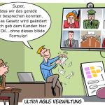 agile Verwaltung Agilität agil Cartoon Comic Karikatur Bild Humor