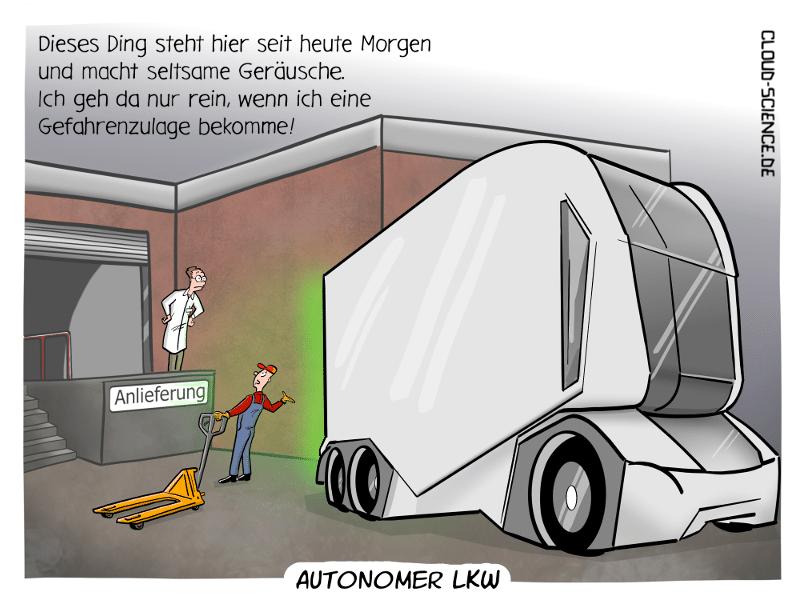 Autonomer LKW selbstfahrender LKW Einride Cartoon Comic Humor Illustration