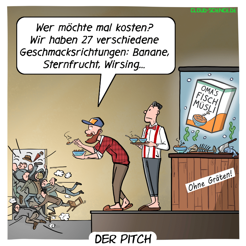 Pitch Start Up Cartoon Humor Bild Gründer Präsentation mit Investoren Wagniskapitalgeber