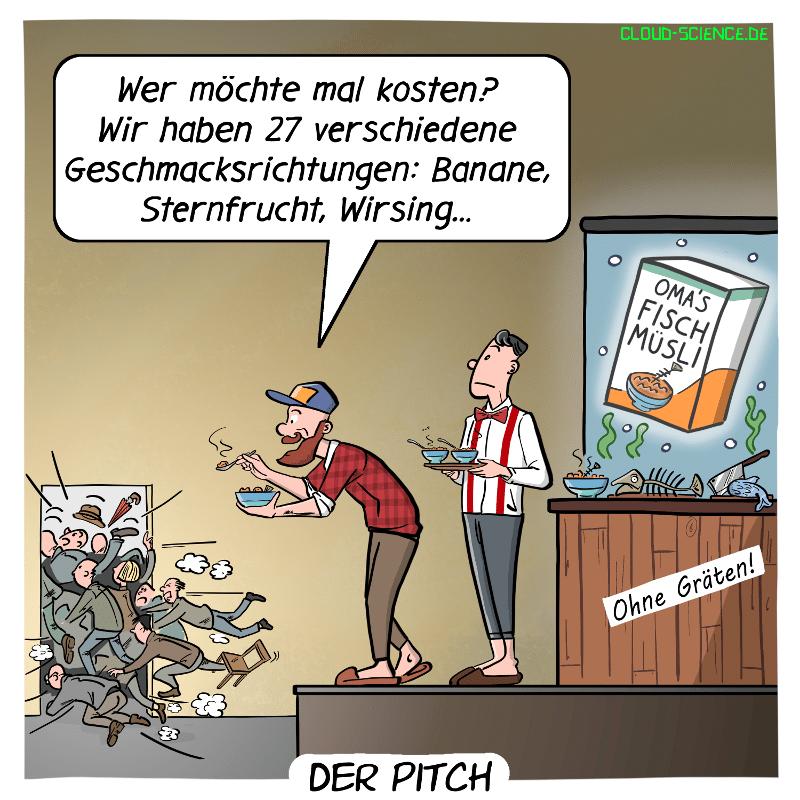 Pitch Start Up Cartoon Humor Bild Gründer Präsentation mit Investoren Wagniskapitalgeber