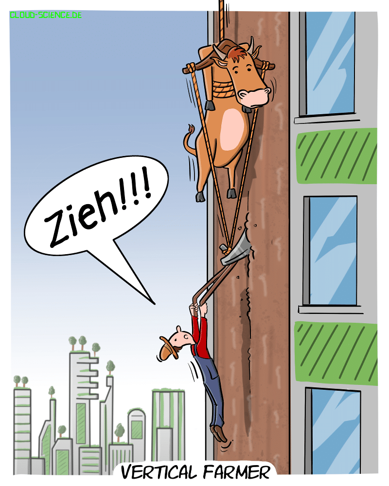 Vertical Famer Vertical Farming Zukunft Beruf Cartoon Karikatur Comic Humor