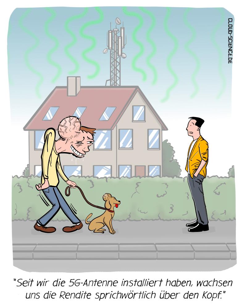 5G Gesundheitsrisiko Gefahr Strahlen Krebs Cartoon Karikatur Mobilfunk