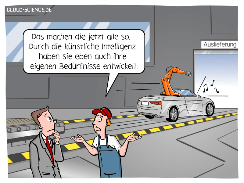 KI Maschine Learning Industrie 4.0 Roboter Cartoon Karikatur
