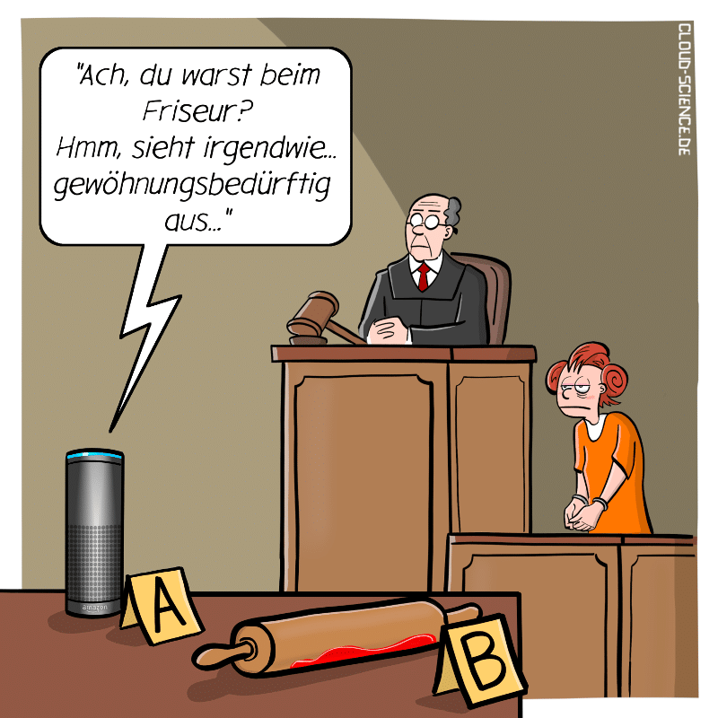 Sprachassistent Alexa smarter Lautsprecher Beweismittel vor Gericht Cartoon Karikatur Technik