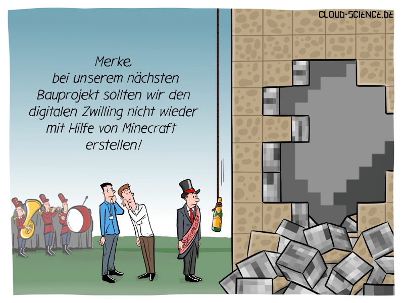 Digitaler Zwilling Bau Gebäude Minecraft BIM Cartoon Karikatur