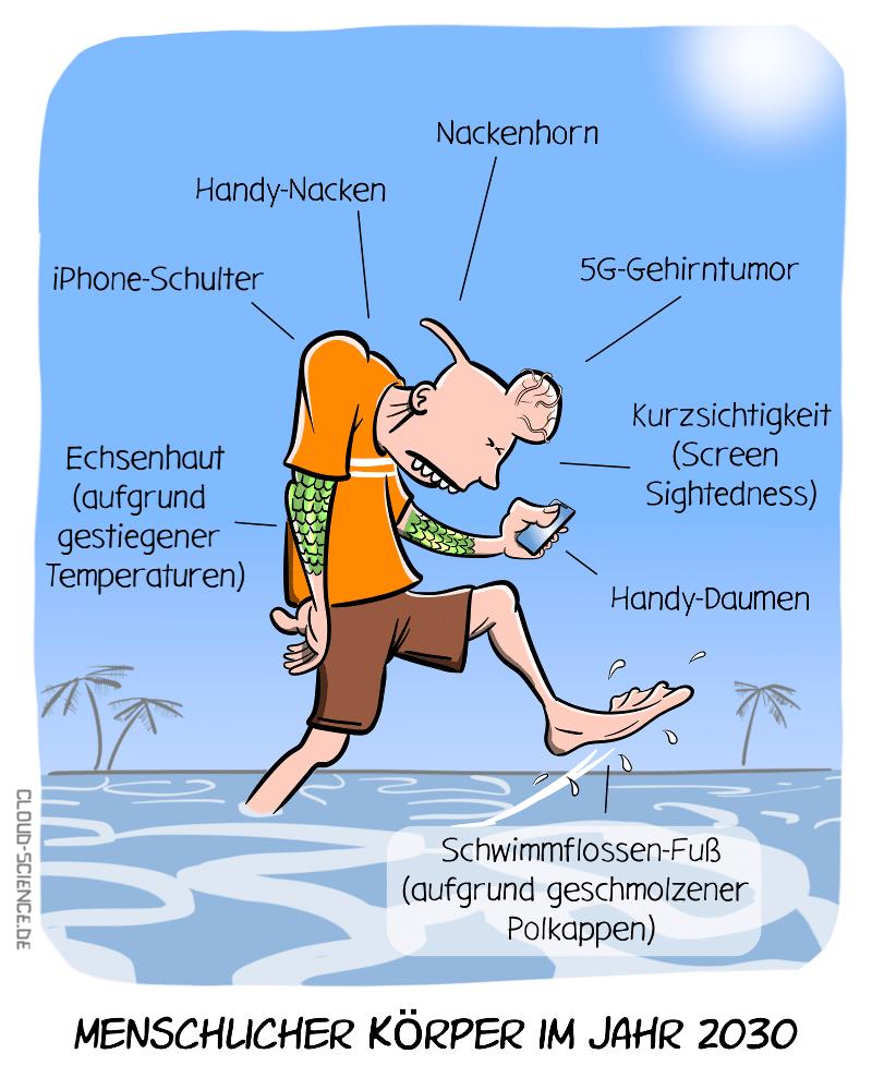Menschlicher Körper Zukunft Veränderung Evolution Mensch Cartoon Karikatur