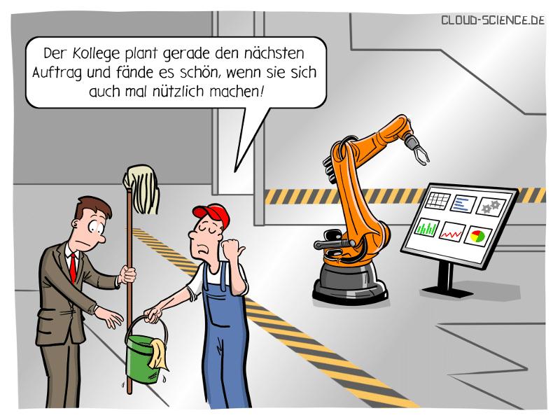Shopfloor Digitales Shopfloor Management Industrie 4.0 Roboter Cartoon Karikatur