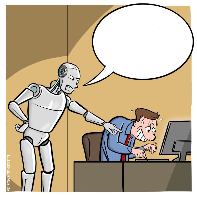 Roboter Cartoon Digitalisierung Technologie Zukunft Digitalisierung Büro Angestellter Karikatur Stockfoto Humor