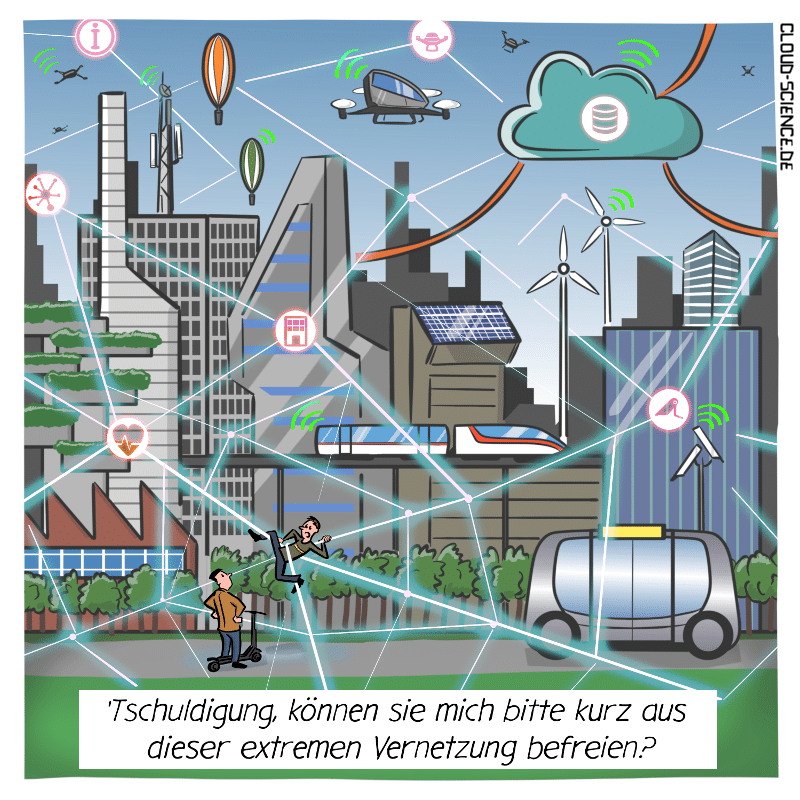 Smart City IoT Vernetzung Stadt Zukunft Digitalisierung  Technologie Cartoon Grafik Illustration Karikatur