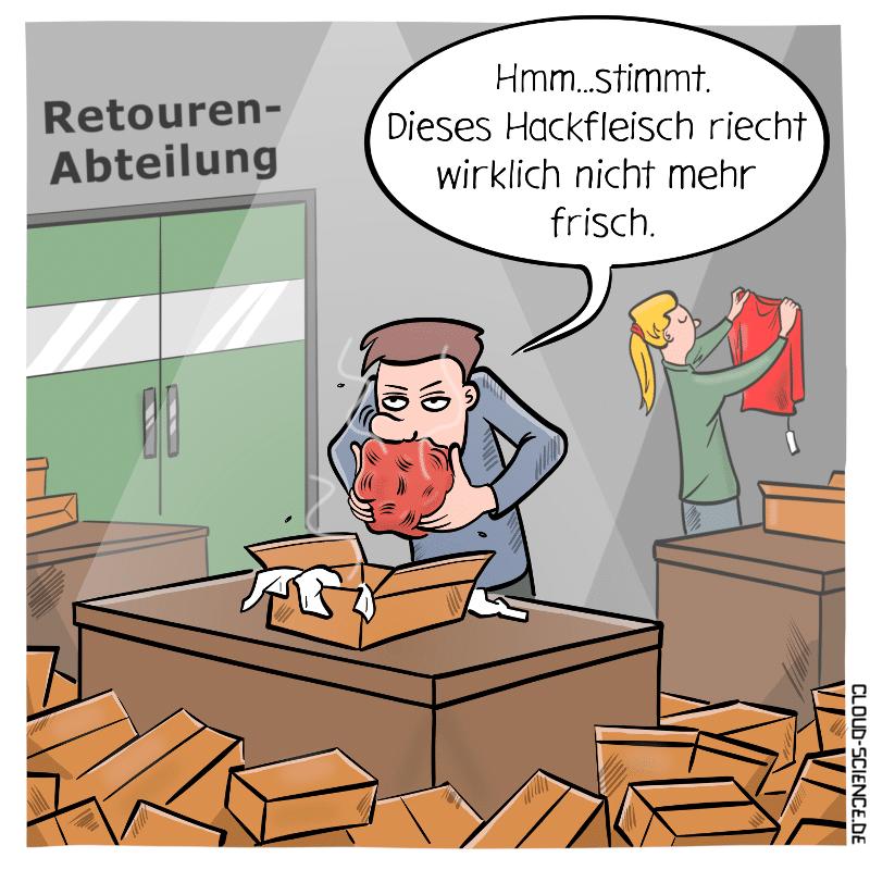 Retourenabteilung Retoure Retouren Cartoon Logistik Karikatur Hackfleisch