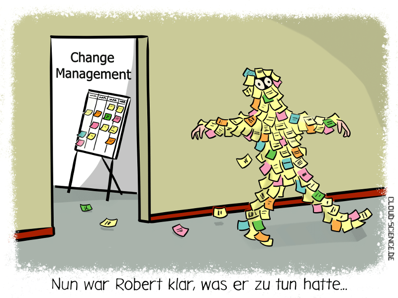 Change Management New Work Agilität Workshop Post-Its Cartoon Wirtschaft Businesscartoon