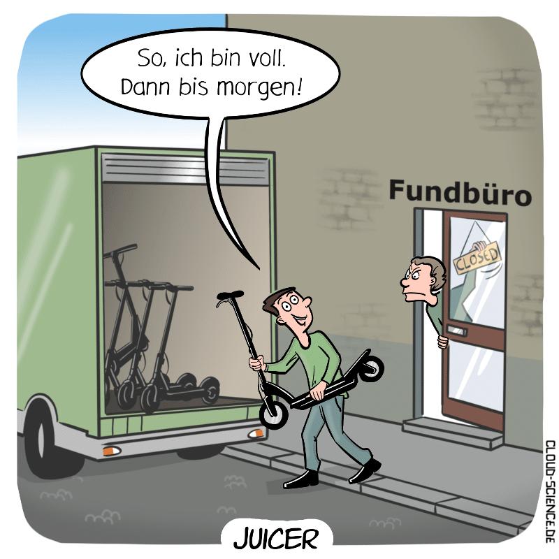 Juicer Hunter Beruf Zukunft eScooter ERoller einsammeln aufladen Cartoon Karikatur Humor