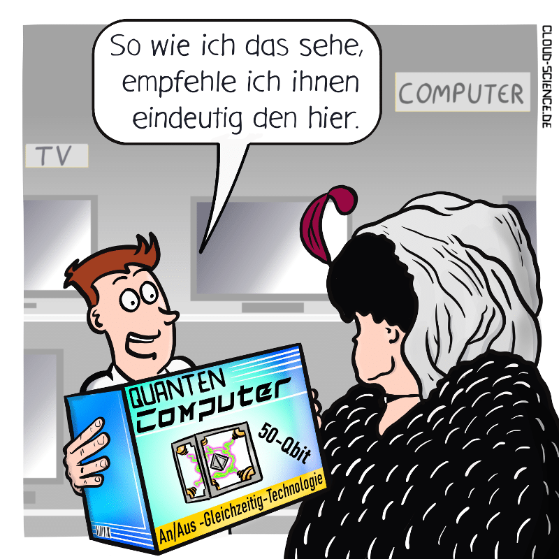 Quantencomputer Quantenrechner Qubit Cartoon Technologie Illusion Karikatur Zukunft
