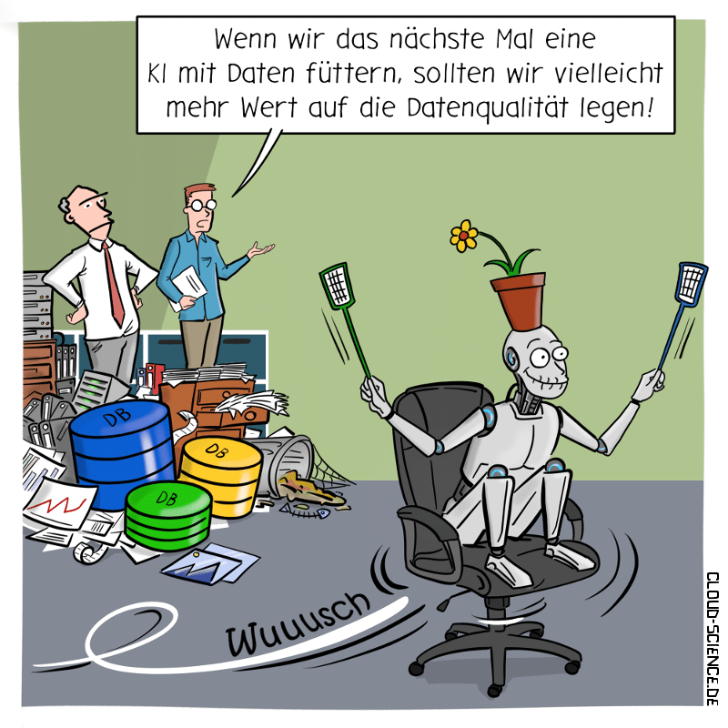 Datenqualität Daten KI Roboter Machine Learning Cartoon Karikatur