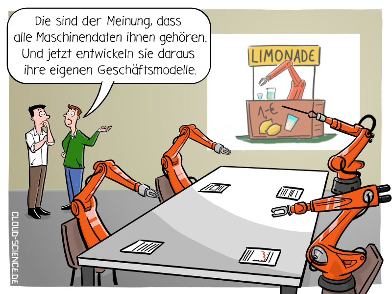 Wem gehören Maschinendaten? Industrie 4.0 Smart Factory Roboter Daten Cartoon Illustration Karikatur