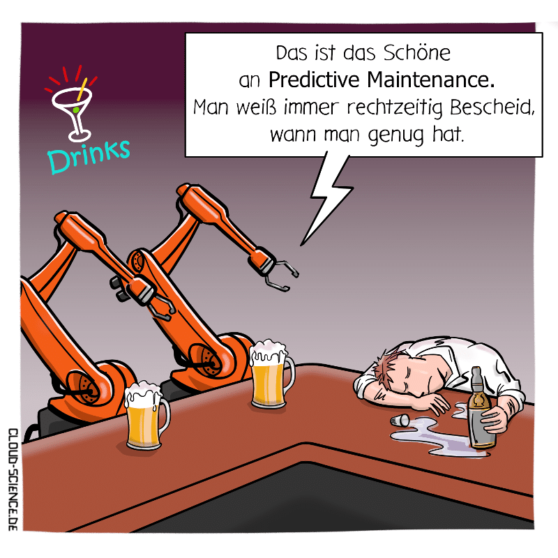 Predictive Maintenance Industrie 4.0 Roboter Cartoon
