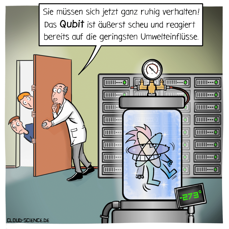 Qubit Quantencomputer Cartoon Karikatur
