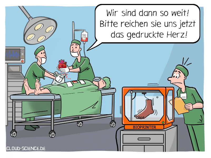 Bioprinting Organe drucken Cartoon Karikatur