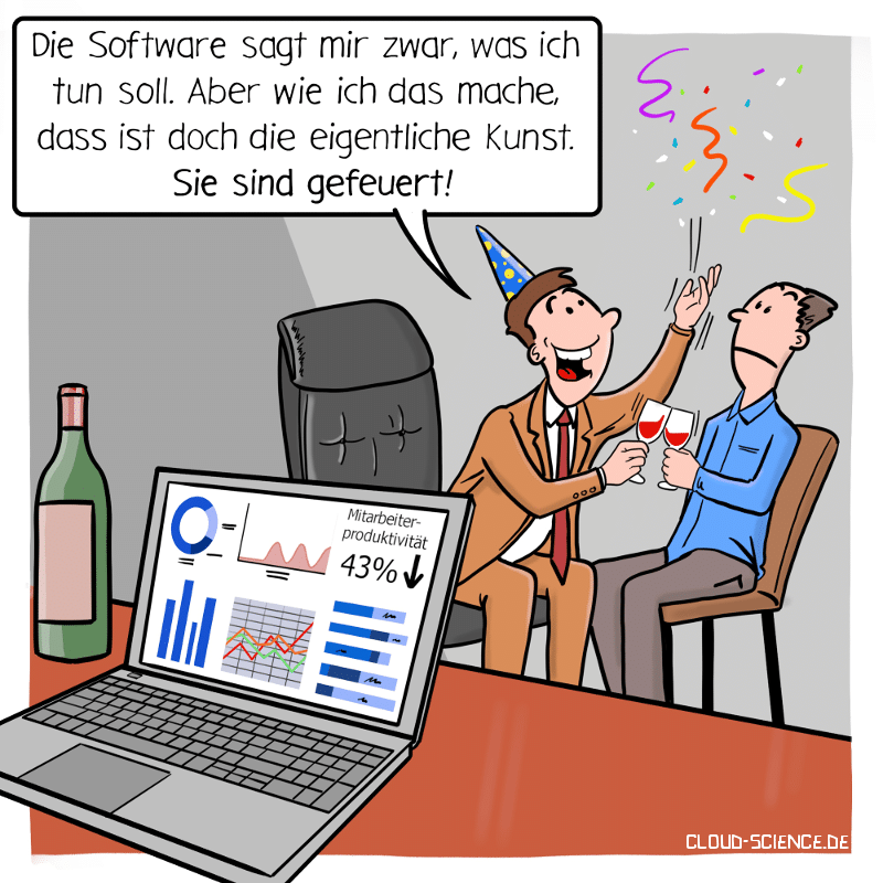 Data Driven Decision making emotionale Intelligenz Soft Skill Chef Führungsstil Cartoon Karikatur